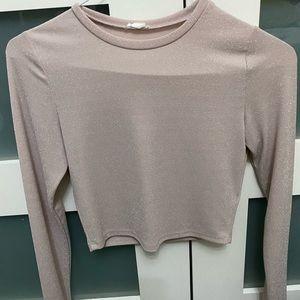 Crop sparkly garage long sleeve shirt